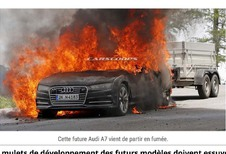Audi A7 2018 : un prototype part en fumée