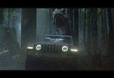 Jeep Wrangler à Jurassic Park contre un T-Rex