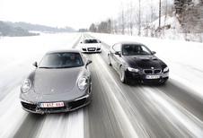 Audi R8 R-Tronic, BMW M3 Coupé DKG et Porsche 911 Carrera S PDK : Sports d'hiver
