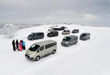 Citroën Jumper 2.0 HDi 125, Ford Tourneo Custom 2.2 TDCi 155, Hyundai H1 People 2.5 CRDi 136, Mercedes Viano 2.0 CDI, Opel Vivaro Tour 2.0 CDTI ecoFlex 115, Renault Trafic 2.0 dCi 115 et Volkswagen Multivan 2.0 TDI 136