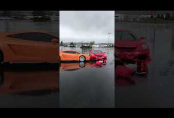 Ferrari-kluns rijdt een Lamborghini aan #1