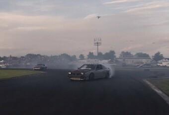 Drone in een driftwedstrijd