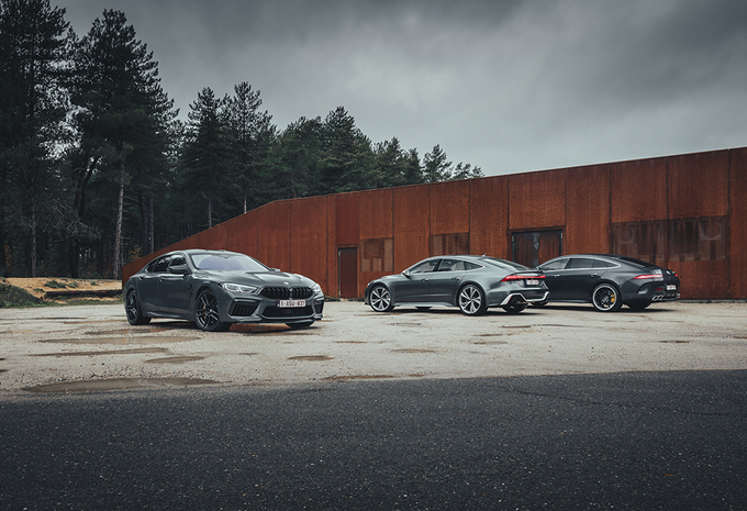Vergelijkende test AUDI RS 7 SPORTBACK // BMW M8 GRAN COUPE COMPETITION // MERCEDES-AMG  GT 4-DOOR COUPE 63 S (2021) #1
