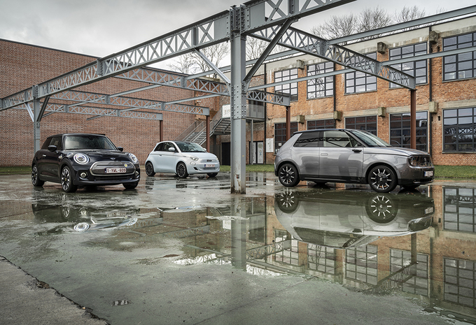 Vergelijkende test FIAT 500e // HONDA e // MINI ELECTRIC (2021) #1
