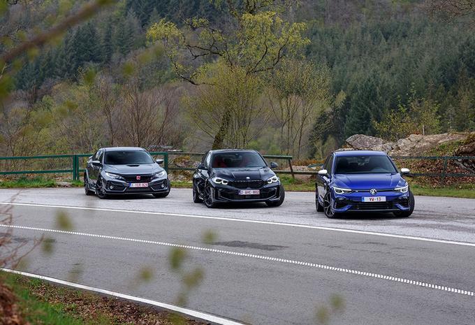 VW Golf R versus BMW M135i en Honda Civic Type R #1