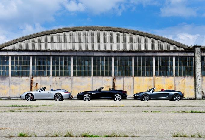 Audi R8 Spyder S-Tronic, Jaguar F-Type V8S en Porsche 911 Cabrio Carrera 2S : Terugkeer in triomf #1