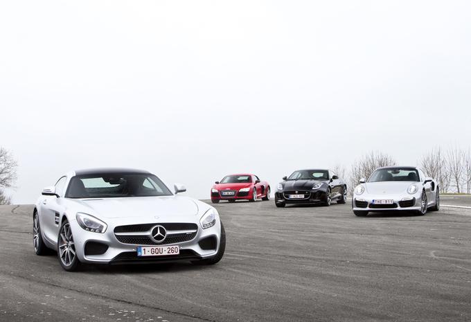 Audi R8 V10, Jaguar F-Type R, Mercedes-AMG GT S et Porsche 911 Turbo S : Grands crus #1